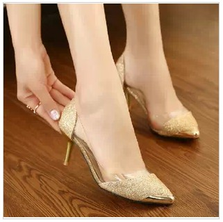 2015 New Women's Glitter Transparent Metal Pointed Toe Gold Low ...
