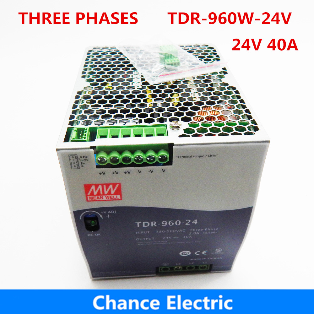 Meanwell 960W Power Supply TDR-960-24V 40A Three Phase Industrial DIN RAIL with PFC Function 24V Switching Power Supply mean well original drt 960 24 24v 40a meanwell drt 960 24v 960w single output industrial din rail power supply