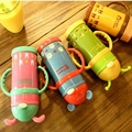 Hot Children Feeding Bottle Animal Stainless Steel Cups Food-Grade High Soft Sippy Temperature Resistant Creative Large Capacity