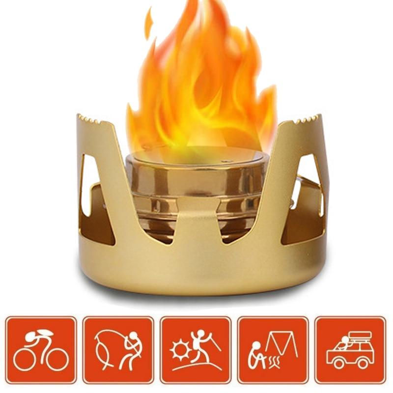 1 шт. мини-горелка для кемпинга и путешествий Удобная Спиртовка для приготовления барбекю Спортивные товары Золотая прочная спиртовая плита для улицы