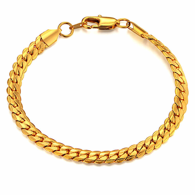 Mens Chain Braclet For Men Jewelry Braslet 2019 Male Gold Color Snake Chain Link Bracelet Men's Jewelry,bracelets amp bangles
