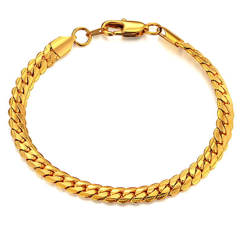 Mens Chain Braclet For Men Jewelry Braslet 2019 Hombre Gold Color - Bisutería
