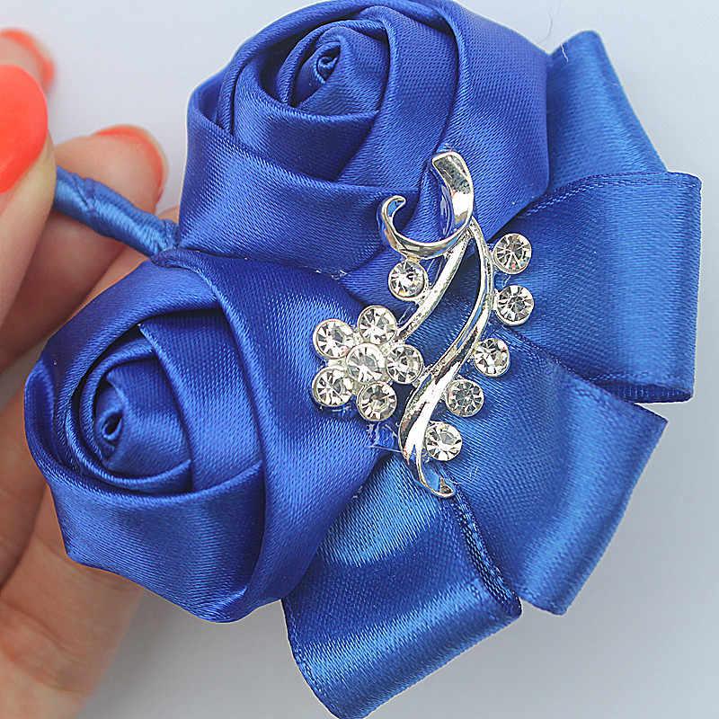 Su misura Royal Blue Da Sposa Corpetti Fiore All'occhiello Dello Sposo Boutonniere di Cerimonia Nuziale Fiori di Cristallo per Gli Uomini di Vestito Spille Spilla