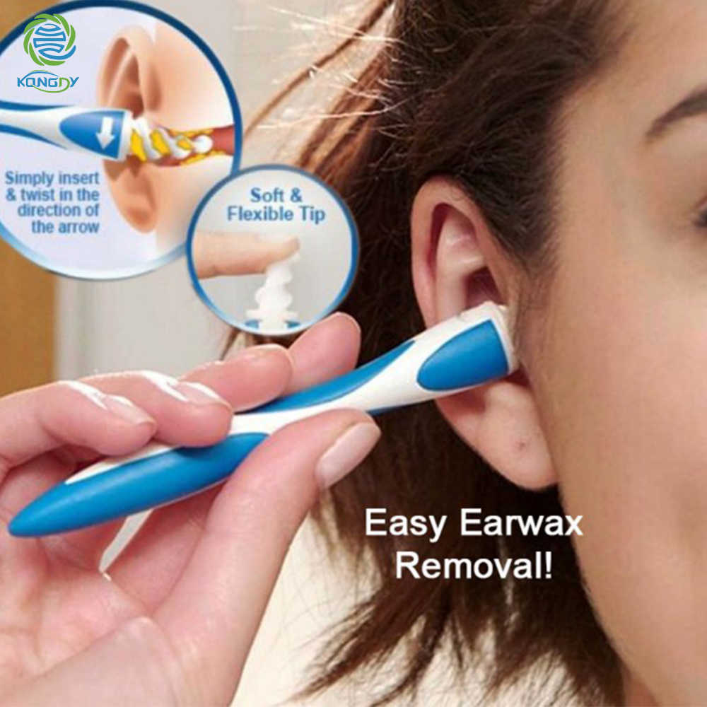 KONGDY 16 טיפים ספירלת אוזן מנקה מסתובב חכם Earpick קל הסרת שעוות אוזן רך ספירא מועילים מנקה למנוע אוזן פיק אוזן טיפול נקי