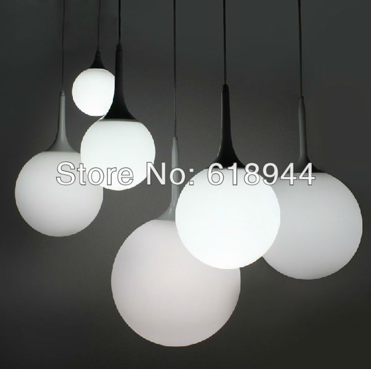 Free shipping White Glass Round Modern  Hanging Lamps Pendant Light for Home Decoration Hanging Lights Suspension Lamp Luminaire small medium large size white normann norm06 suspension modern pendant lamp 1 light design by simon karkov free shipping