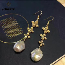 ANI 14k Roll Yellow Gold Women Pearl Dangle Earring Natural White Baroque Shape Drop Fine Jewelry Hyperbole Party Earrings