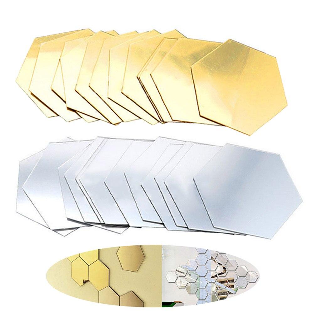 12 шт. 3D зеркало шестиугольник винил съемные стенки Стикеры наклейка Домашний Декор Книги по искусству DIY hogard