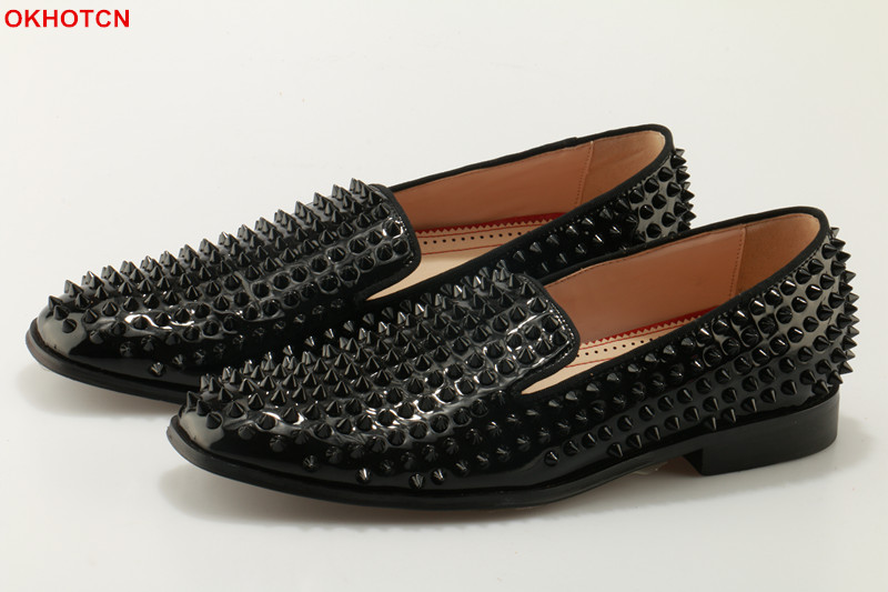 Patent Leather Men Casual Loafers Black Spiked Rivets Studded Dress Party Shoes Fashion OKHOTCN Spring Autumn Square Toe Flats choudory new winter men ankle italian shoes men leather shoes pointed toe mens black dress shoes sequined toe spiked loafers men