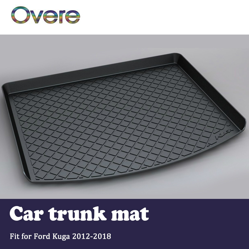 Overe 1Set Car Cargo rear trunk mat For Ford Kuga 2012 2013 2014 2015 2016 2017 2018 Boot Tray Styling Anti-slip Mat accessories led 2012 2015 kuga day light kuga fog light kuga headlight transit explorer topaz edge taurus fusion kuga taillight