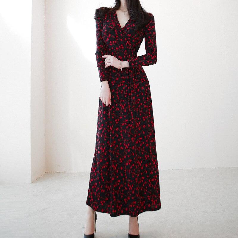 Plus Size Red Korean Casual Dress Women Long Sleeve Print Corset Midi Wrap Dress Women Vintage Dresses Women Ropa Mujer 2019 in Dresses from Women 39 s Clothing