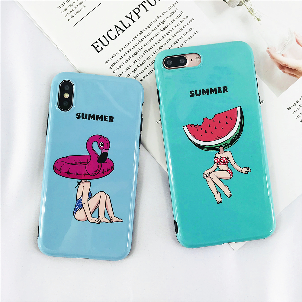 Cases For Iphone 7 Summer Personality Swimsuit Girl Phone Case For Iphone 6 6s 8 X Plus Soft IMD All Inclusive Glossy Back Cover