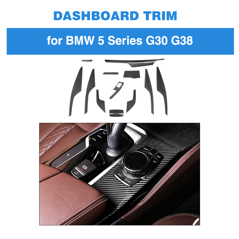12pcs car Interior Dashboard Central Panel Trim Car Styling for BMW 5 series G30 G38 520i 2017 19 Carbon Fiber