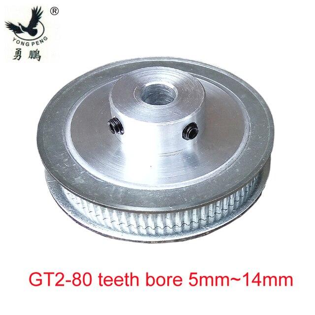Alta calidad 1 PC 80 dientes GT2 polea diámetro 5mm-14mm ajuste ancho 6mm 2GT impresora 3D de máquina CNC de dientes dentados con correa de distribución