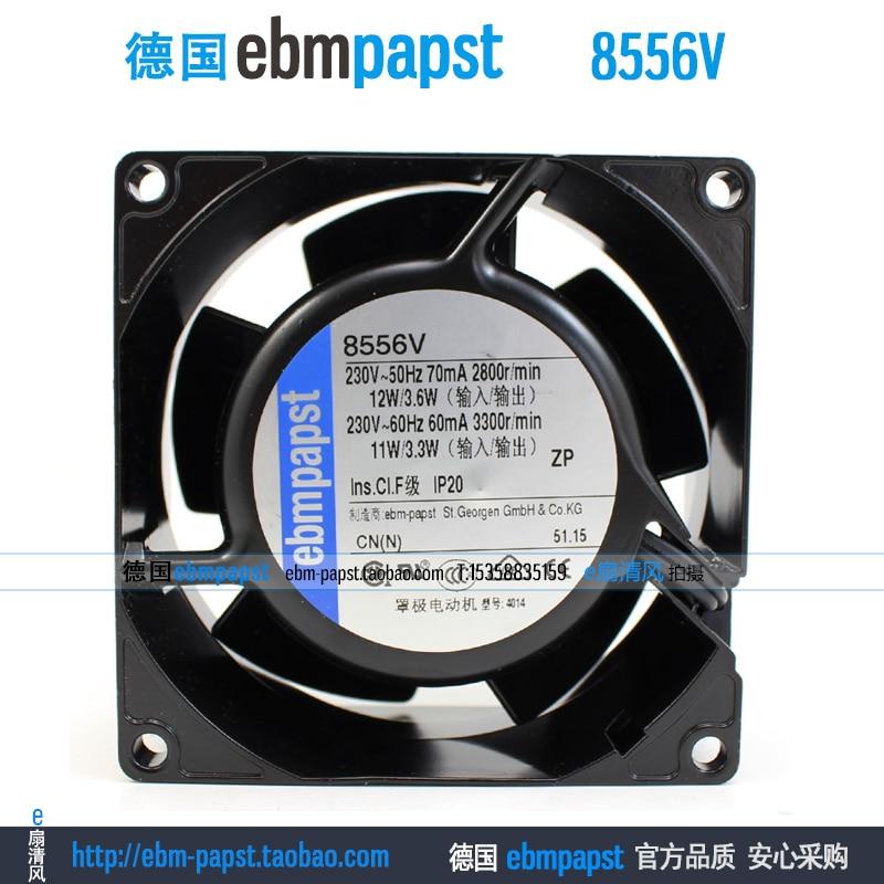 ebm papst 8556V AC 230V 70mA 11W 80X80x38mm Server Square fan new original ebm papst ac4400fnn ac 4400 fnn ac 230v 115v 12w 2 wire 120x120x25mm server square fan