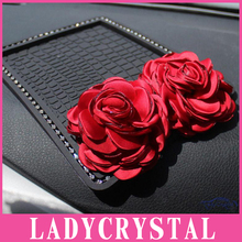 Ladycrystal Auto Interior Accessories Anti Slip Car Sticky Diamond Rose Anti-Slip Mat For Mobile Phone Mp3 Mp4 GPS Pad Car Doll