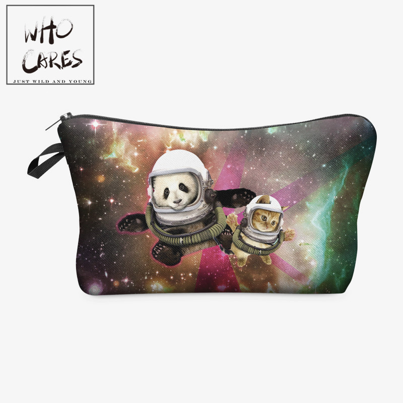 Galaxy panda cat 3D Printing makeup bag 2018 Women cosmetic bag trousse de maquillage travel organizer necessaire pencil case lips 3d printing pencil case cosmetic bag organizer 2017 fashion bags trousse de maquillage necessaire women pouch makeup bag