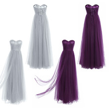 Fashion Women Ladies Mesh Strapless Bridesmaid Dress Floor-Length Adjustable Lace-up Backless Long Wedding Party Dress Prom Gown