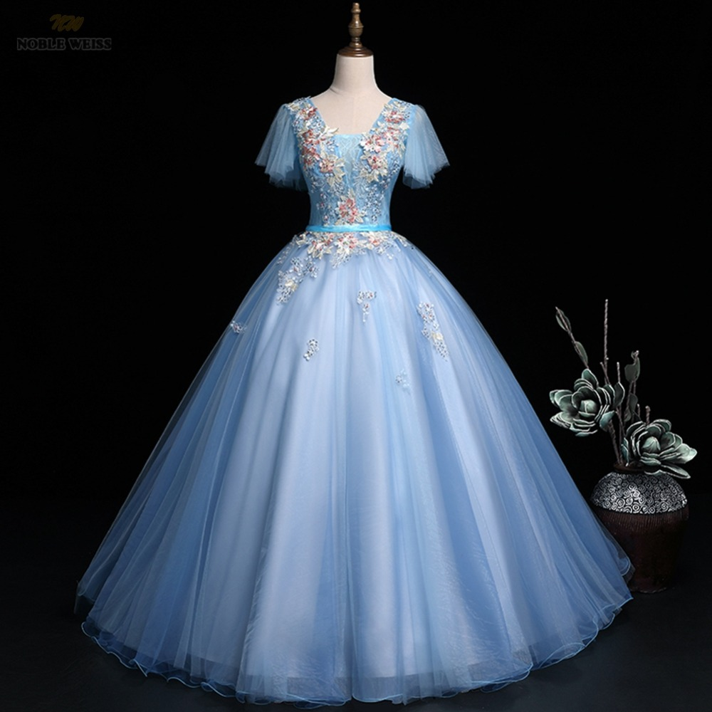 prom     dresses   v-neck appliques beaded   prom   gown sexy sky blue organza   prom     dresses   with cap sleeves lace-up back party   dress