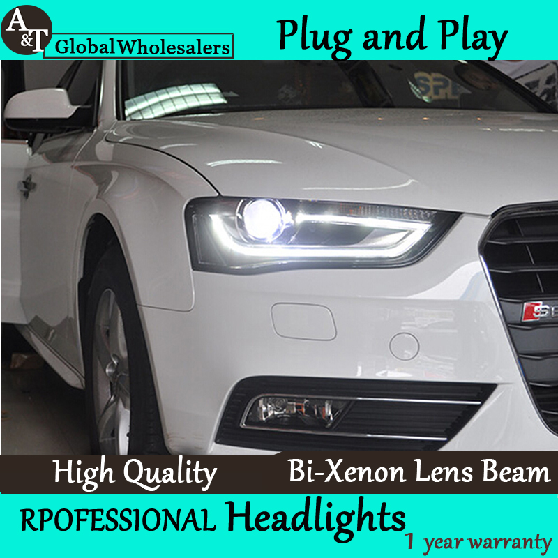 Car Styling for Audi A4 Headlight assembly High Configuration A4 B9 LED DRL Lens Double Beam H7 with hid kit 2pcs. hireno headlamp for suzuki jimny headlight headlight assembly led drl angel lens double beam hid xenon 2pcs