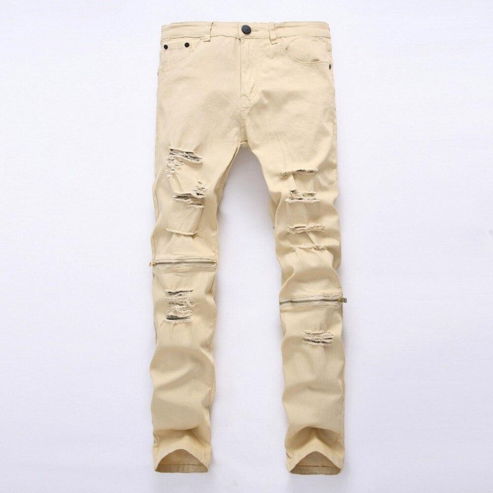 hip hop Men Jeans masculina Casual Denim distressed Solid Slim 96#