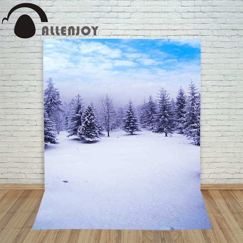 Allenjoy christmas photography backdrop Snow Forest Sky Winter children's camera photocall photo festive allenjoy christmas photography backdrop wooden fireplace xmas sock gift children s photocall photographic customize festive