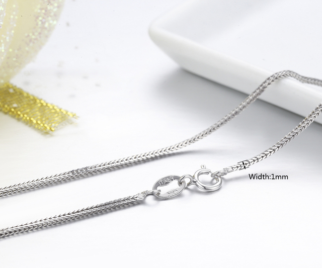 "925 Sterling Silver Fox Tails Chopin Chain Necklace Women Girls 45cm 18"" Italy Jewelry kolye collares collane collier ketting"