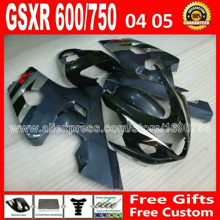 full for plastics 2004 2005 SUZUKI GSXR 600 750 hot sale black silvery fairing kit 04 05 K4  gsxr600 gsxr750 fairings kits TIU A