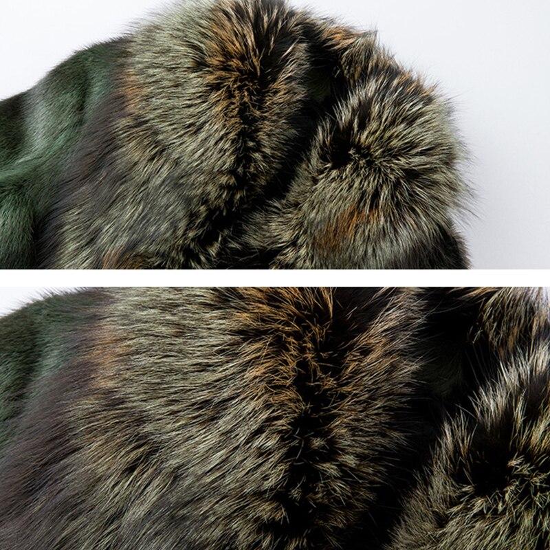 Hiver Femmes Manteaux Avec Army Fox Vison Naturelle Importer De Green Rayé Trimestre Col Fourrure 2019 Lvchi Trois Réel Moyen dqwfPB1dA