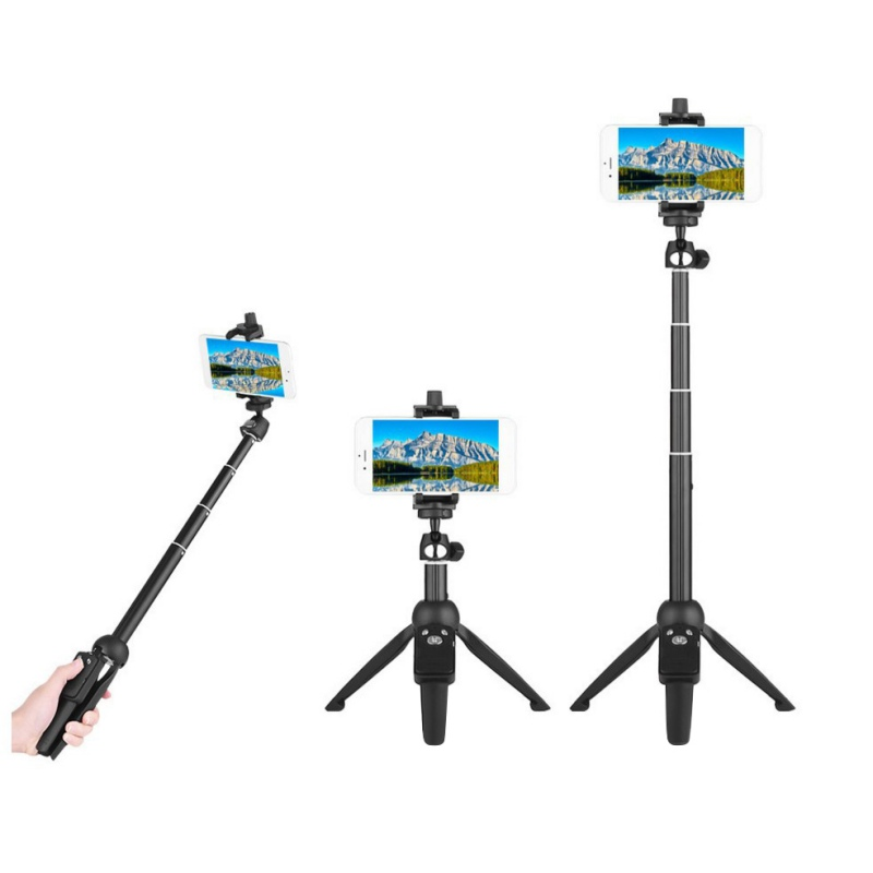 4 in 1 Selfie Stick Tripod Stand Extendable Monopod Bluetooth Remote Phone Mount for iPhone X 8 Android Gopro