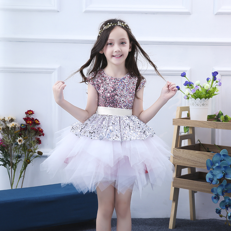 Kids Wedding Girs Ball Gown Dress Princess Party Pageant Formal Dresses Back Bow Lace Sequined Tulle Dress Catwalk Costume JF533 цена