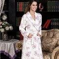 Бесплатная доставка весной хлопка с рукавами хлопок ночную рубашку халат весенних дней XL с длинными рукавами хлопок ночную рубашку халат женщины