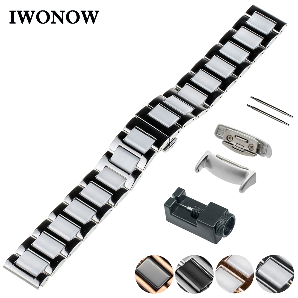 купить Ceramic Watch Band 18mm for Samsung Gear Fit 2 SM-R360 Butterfly Buckle Strap Wrist Belt Bracelet Black + Spring Bar + Adapters по цене 1631.26 рублей