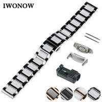 Ceramic Watch Band 18mm for Samsung Gear Fit 2 SM R360 Butterfly Buckle Strap Wrist Belt Bracelet Black + Spring Bar + Adapters