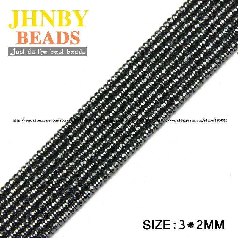JHNBY AAA prirodni kamen crni hematit perle ravni okrugli faceted - Modni nakit - Foto 6