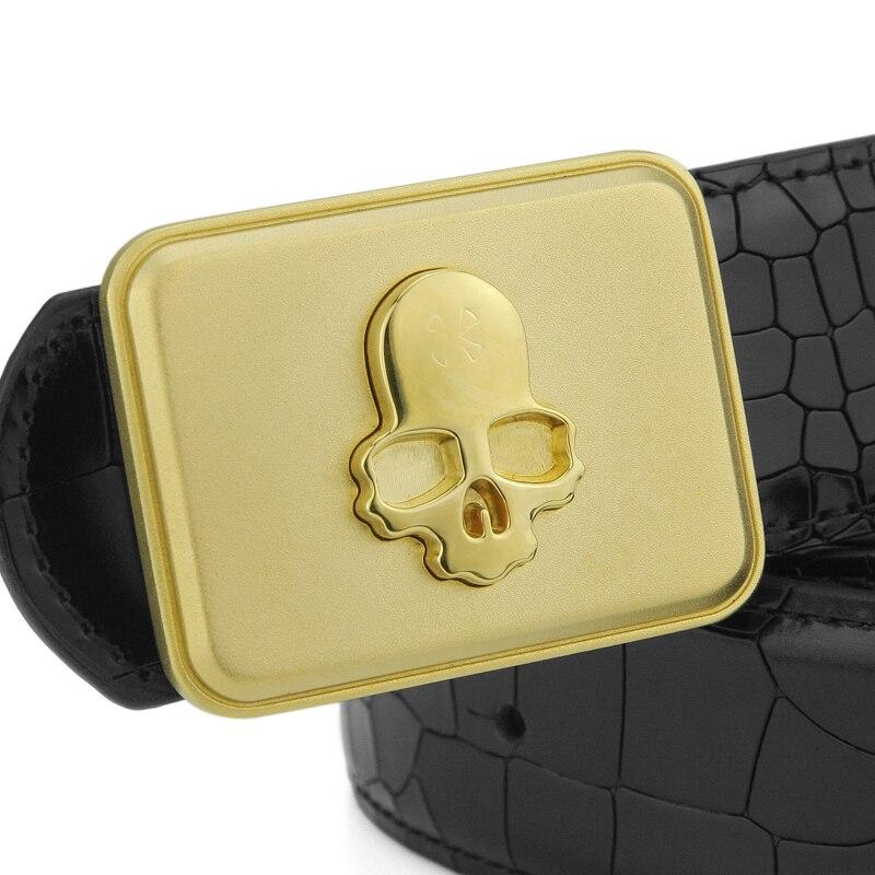 High Quality Copper buckle full grain leather Cowskin belt men Fashion Crocodile Grain Casual Upscale Skull luxury Waist Strap
