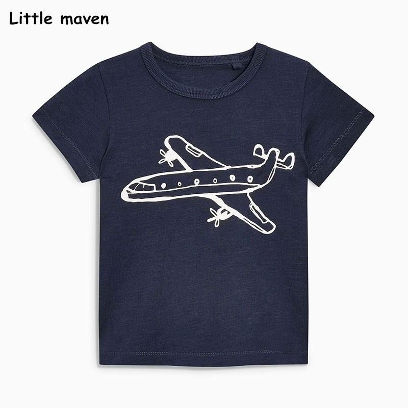 Little maven children clothes 2018 summer baby boys clothes short sleeve t shirt plane print Cotton brand tee tops 51021 trendy men s round neck geometric print short sleeve t shirt