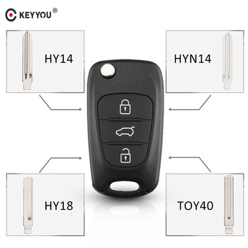 KEYYOU Replacement Remote Car Key Shell 3 BT Flip Folding Key Case For Kia K2 K5 Rio 3 Picanto Ceed Cerato Sportage For Hyundai