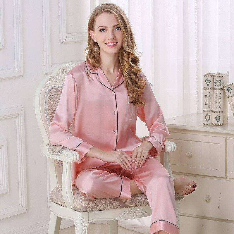 7099f72d2c Elegant 100% natural silk pajamas sets women long sleeve Noble sexy Pink pyjamas  women Pure