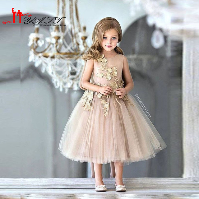 b4855dfe3a Dark Champagne Cute Lace Appliques Flowers Girl Dress 2017 Tea Length Short  Vintage Tulle TuTu Kids Prom Evening Gowns Vestido