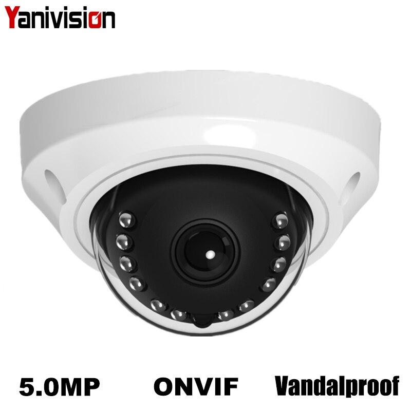 H.265 5MP Surveillance IP Camera Vandalproof ONVIF P2P IP Camera Motion Detection IR Cut Night Vision Small Dome IP Cam POE