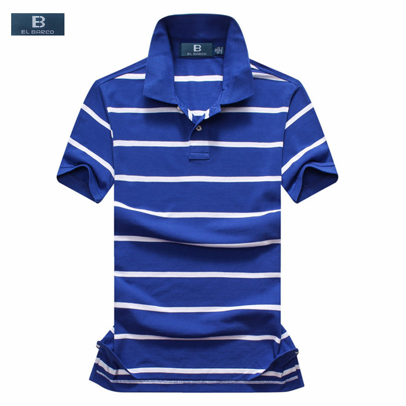 EL BARCO Men Summer Short Sleeve Stripe Cotton Casual Polo Shirt Slim Breathable Luxury Designer