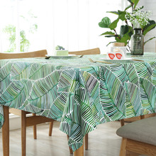 Tropical Plants Tablecloth 2019 Green Leaf Dining Table Cover High Quality Linen Cloth For Kitchen Home Decor Rectangular