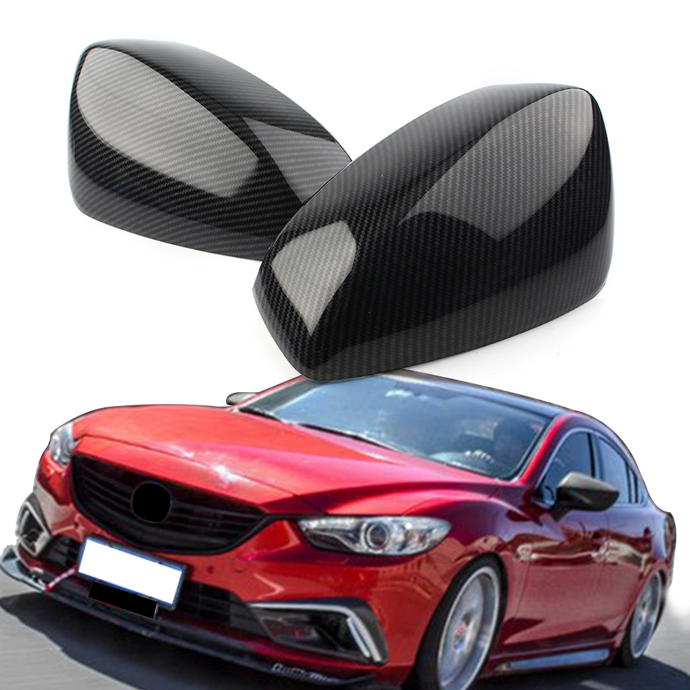 For Mazda 3 Axela 2017 ABS Carbon Fiber Side Rearview Mirror Cover Trim 2PCS