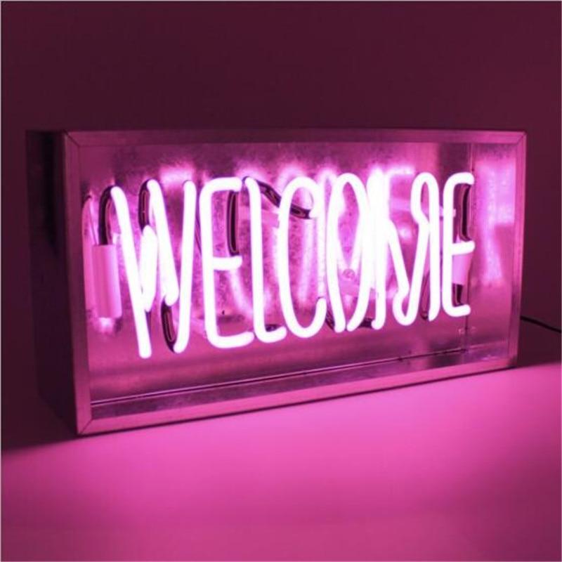 AC 220 V néon signe publicité lumière pour café BAR néon lumières signe artisanal réel verre Tubes ampoule annonce rose éclairage