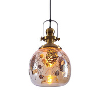 Laser hand carved glass pendant light hotel kitchen island luxury golden pendant lamp home lighting E27 bulb