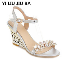 high quality women Sandals Summer Platform Wedges Casual Shoes women fashion Rhinestone High Heel Open Toe sandals Zapatos **540