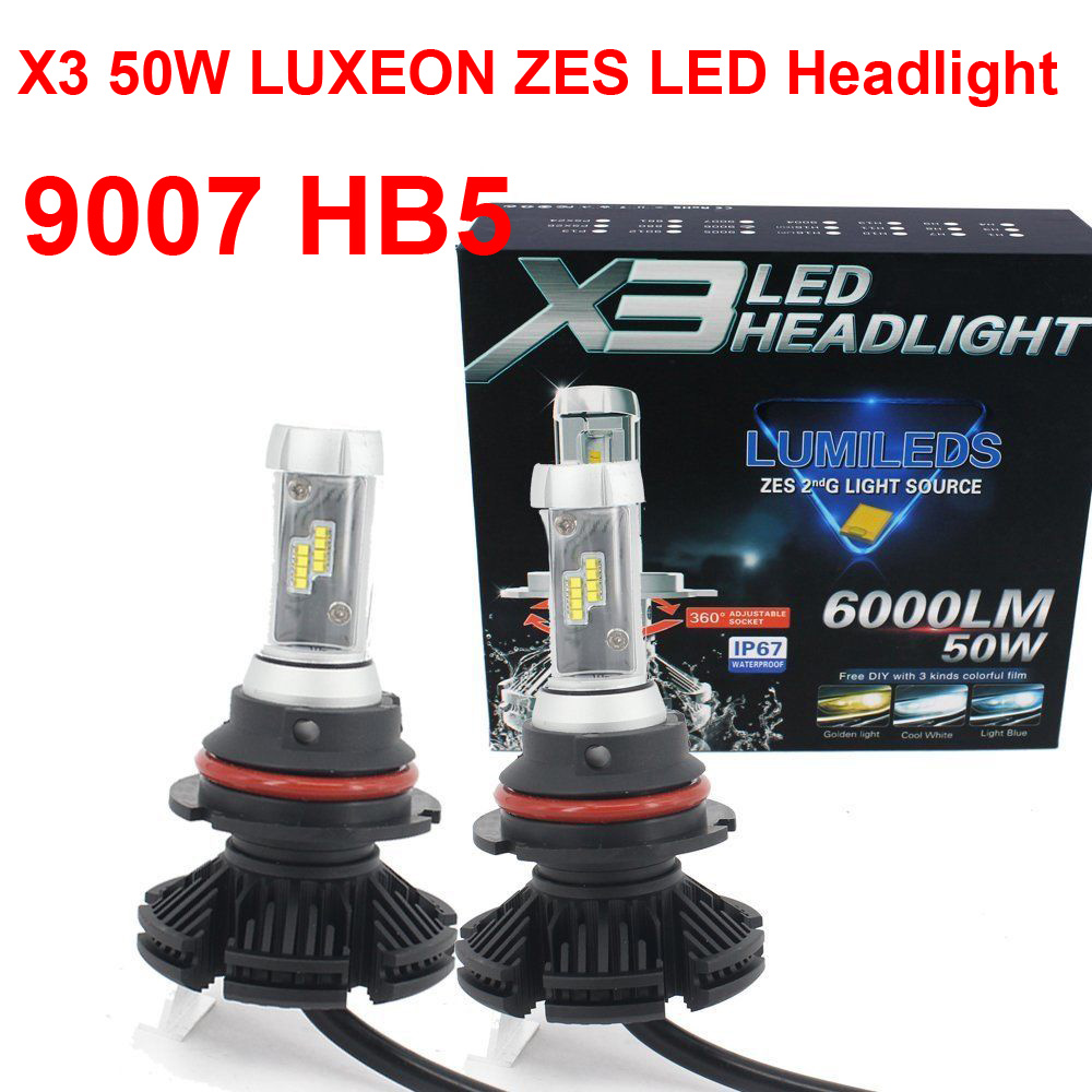1 Set 9007 HB5 X3 LED Headlight 50W 6000LM Fanless All in one LUMILED G2 ZES