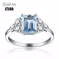 BAIHE Sterling Silver 925 6x8m Certified Emeral Cut Natural Aquamarine White Topaz Engagement Women Fine Jewelry fashion Ring