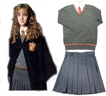 Free Shipping Gryffindor Hermione Cosplay Skirt Uniform Custom Made top+shirt+skirt+tie