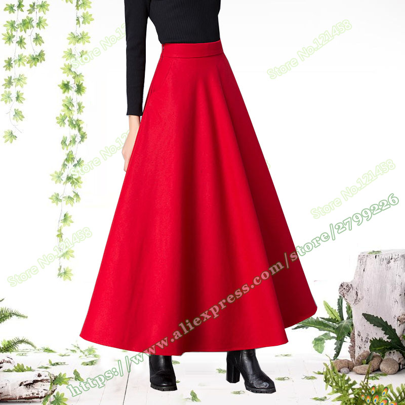 Autumn And Winter Plus Size Red Black Wool Casual Vintage Sun Maxi Skirts Womens Female Woman